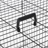 PawHut Transportín de Perro de 2 Puertas Jaula de Alambre para Perros Plegable con Asa Acero 91x61x67 cm Negro(m-10)